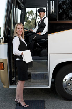 Limo coach hostess and driver